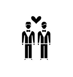 same-sex marriage black icon sign on vector image
