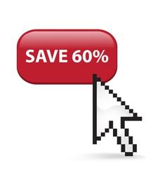 Save 60 Button Click vector