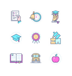 school concepts - modern line design style icons vector image