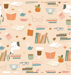 Seamless pattern with books cups and eyeglasses vector