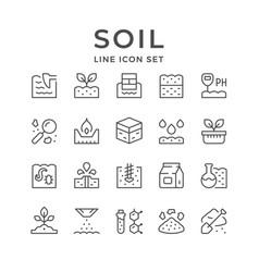Set line icons soil vector