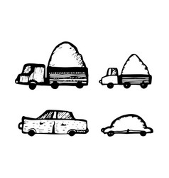 set of toy cars hand-drawn on white background vector image