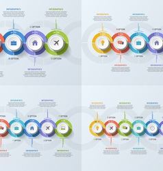 Set timeline business infographic templates vector