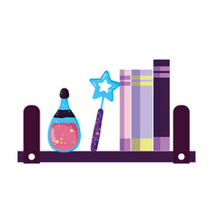 shelving with magic set items vector image