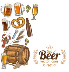 Side vertical border with beer icons vector