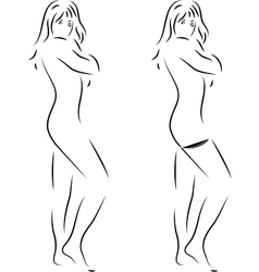 Silhouette of a beautiful woman on white vector