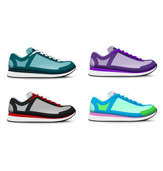 Sneakers shoes realistic set vector