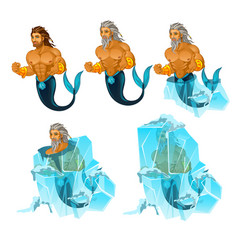 Stage of freezing and thawing of sailor mermaid vector