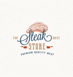 steak store vintage typography label emblem vector image
