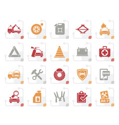 Stylized roadside assistance and tow icons vector