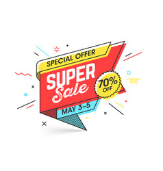 Super sale special offer banner template in flat vector