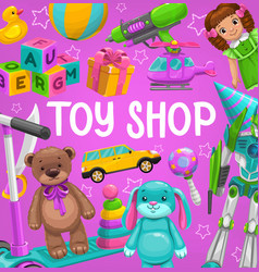 Toy shop cartoon poster baplaythings vector