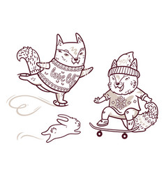 Two cute baby fox skating in outline fun vector