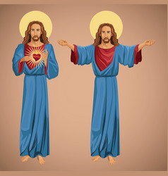 two image jesus christ sacred heart vector image