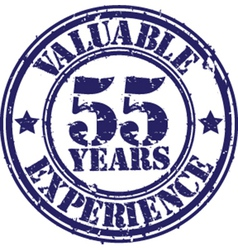 Valuable 55 years of experience rubber stamp vect vector