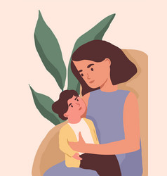 Vertical portrait mother and little child vector