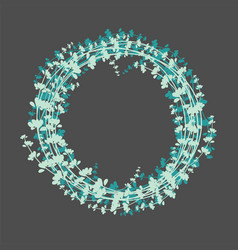 winter floral wreath on black background vector image