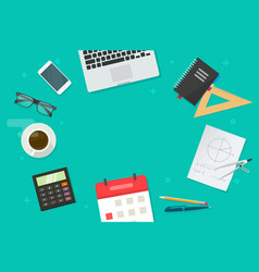 Working table and education or school objects and vector