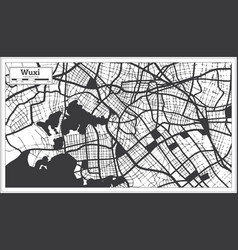 wuxi china city map in black and white color in vector image