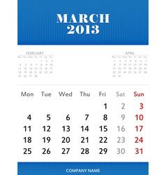 Mar 2013 calendar design vector image vector image