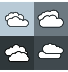 White flat cloud icons on color background vector image