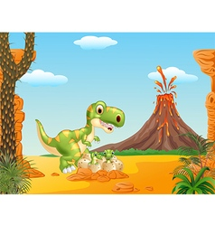 Cartoon Mother and baby dinosaur hatching vector image vector image