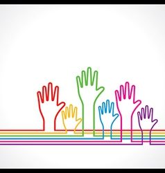 Colorful hands background vector image vector image