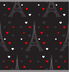 eiffel tower and hearts seamless pattern vector image vector image