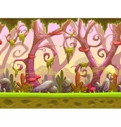 Fantasy cartoon forest seamless landscape vector image