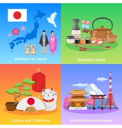 Japan Culture 4 Flat icons Square vector image vector image