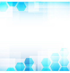abstract background light blue and hexagon shapes vector image