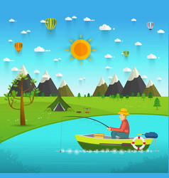 fisherman sitting in the boat and fishing vector image