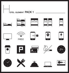 Hotel element line icon set 1mono graph pack vector