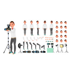 photographer male animated man creation vector image vector image