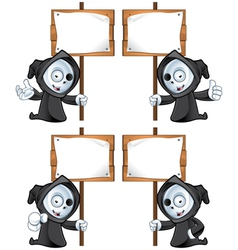 Reaper Holding A Wooden Sign vector image vector image