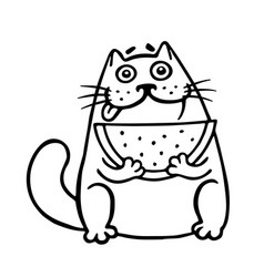 thick cat with watermelon isolated vector image vector image