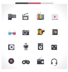 multimedia icon set vector image vector image