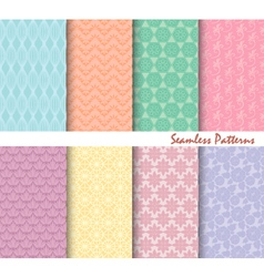 Set Of eight Seamless Patterns Backgrounds vector image