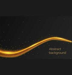 Abstract black background with shining golden wave vector