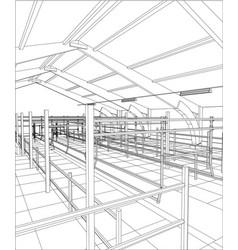 Abstract industrial building constructions indoor vector