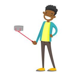 african-american teenager boy taking selfie photo vector image