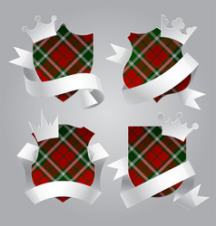 Badge set with tartan background white paper vector