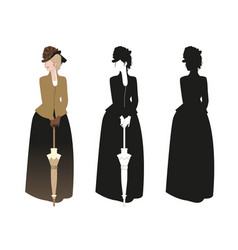 beautiful woman dressed in style 19th vector image