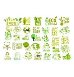 big set ecologic labels eco safe emblems vector image