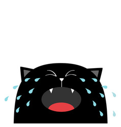 black cat face head silhouette screaming crying vector image