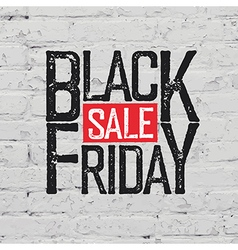Black Friday Typography on brick wall texture vector image