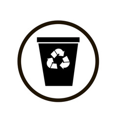 Black toilet sign wiping trash can in a circle vector