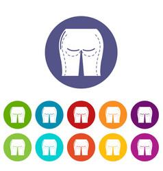 Buttocks liposuction icons set color vector