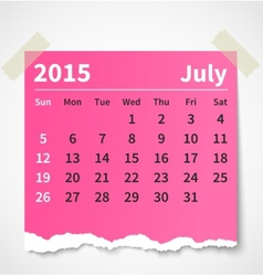 Calendar july 2015 colorful torn paper vector image