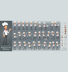 Cartoon flat chief cook boy character big set vector